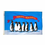 Happy Holidays Penguin Flag