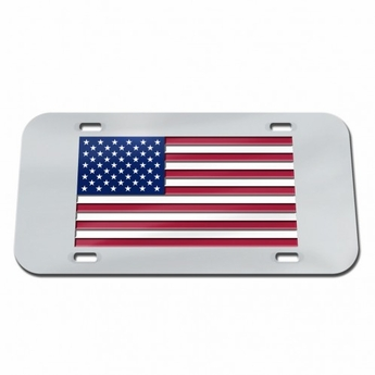 Laser Cut Crystal Mirror US Flag License Plate