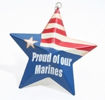 """Proud Of Our Marines"" Metal Star Ornament"
