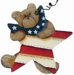 Teddy Bear Americana Star Ornament