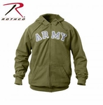 Vintage Army Zipper Hooded Sweatshirt