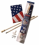Wood Pole American Flag Banner Set