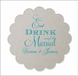 Eat Drink & Be Married Personalized Coasters