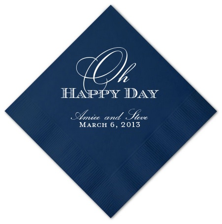 Oh Happy Day Wedding Napkins Personalized Custom Beverage Napkin