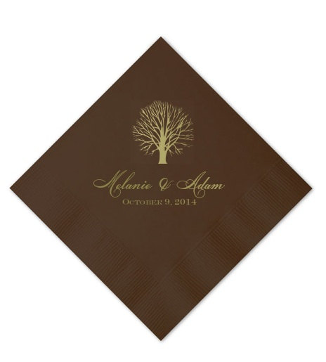 Personalized Fall Wedding Napkins Custom Beverage Party Napkin