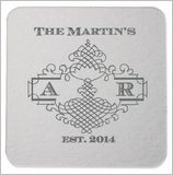 Personalized Party Coasters with Scrolled Border