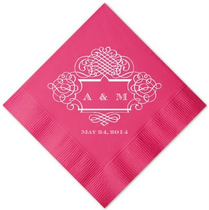 Personalized party napkins with scrolled border custom wedding napkin