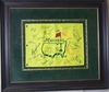 Lot 405 - Masters Undated Flag Signed by 34 Champs - Deluxe Framed with UV Glass - JSA COA