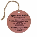 Lot 51 - 1933 Ryder Cup at Southport & Ainsdale GC Monday Ticket #9063