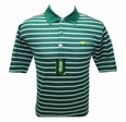 Masters Jersey Golf Shirt - Green w/White & Silver Stripes - Medium through XXL
