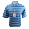 Masters Pique Azure Blue Golf Shirt w/Navy & White Stripes - Large & XL ONLY!