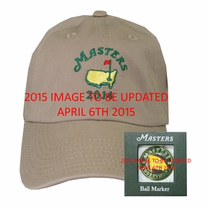 2015 Masters Khaki Dated Hat & 2015 Masters Ball Marker