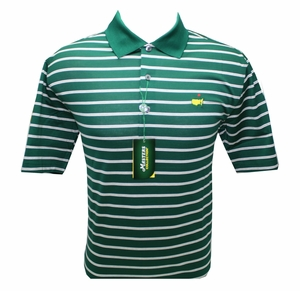 Masters Jersey Golf Shirt - Green w/White & Silver Stripes