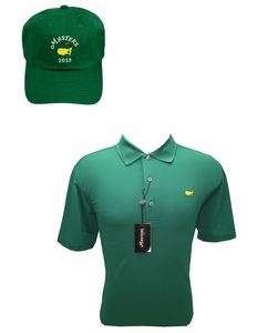 Masters Performance Green Golf Shirt & 2015 Green Caddy Hat