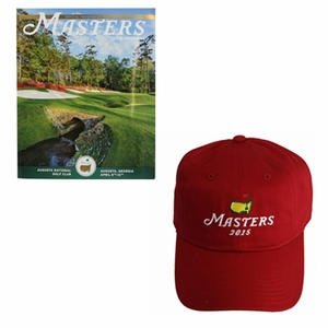 2015 Masters Red Caddy Hat With Free 2015 Masters Journal!