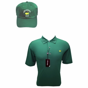 Masters Green Performance Polo Shirt & 2015 Green Caddy Hat Combo