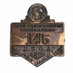 Lot 1 - 1921 US Open at Columbia C.C. Contestant Badge #145 -ONE OF THE EARLIEST KNOWN!