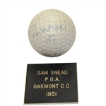 Lot 1 - Sam Snead 1951 PGA Championship at Oakmont C.C. Tournament Used Golf Ball Gifted To Ralph Hutchison