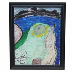 Lot 1 - Arnold Palmer Signed Hand Painted Pebble Beach #7 Historic Hole on Canvas