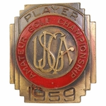 Lot 10 - 1959 US Amateur Contestants Badge - Jack Nicklaus Winner-Claims It's His 1st Major
