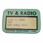 Lot 11 - 1958 Masters Tournament TV & Radio Badge Issued to Legend John Derr