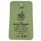 Lot 11 - 1948 Masters Sunday Ticket - Harmon Win - Jones Last Playing Round in Tournament