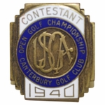 Lot 12 - 1940 US Open at Canterbury GC Contestant Badge #106 - Lawson Little Winner