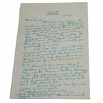 Lot 12 - Francis Ouimet Handwritten Letter (50th Anniv. U.S.Open Win) To Bos. Red Sox-Great Content!