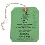 Lot 12 - 1952 Masters Tournament SERIES Badge #2500 Signed by Jack Burke