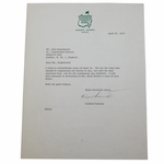 Lot 12 - Clifford Roberts Signed April 24, 1973 Letter on Augusta Letterhead