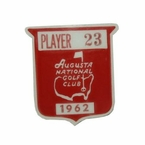 Lot 14 - Jack Fleck's 1962 Masters Contestant Pin - Arnold Palmer's 3rd Masters Victory
