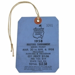 Lot 18 - 1958 Masters Tournament SERIES Badge/Ticket #3261 - Palmer's 1st Masters Victory