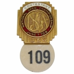 Lot 2 - 1934 US Open at Merion GC Contestant Badge #109-ONE TO OWN