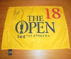 LOT #214: Rickie Fowler Signed 2015 Open Championship Flag - St. Andrews
