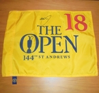 LOT #217: Graeme McDowell Signed 2015 Open Championship Flag - St. Andrews