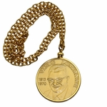 Lot 22 - Vince Lombardi Memorial Golf Classic Brass Pendant with Chain
