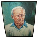 Lot 22 - Arnold Palmer's Finest Known Autograph w/Full Name & Wins On Oversize 33 X 44 Print