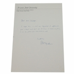 Lot 24 - Phil Mickelson Hand-Signed Letter from ASU Days on ASU Letterhead
