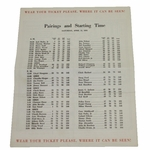 Lot 25 - 1953 Masters Saturday Pairing Sheet - Ben Hogan's 66 Low Career Round @ Augusta