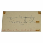 Lot 25 - Horton Smith (D-1963) 1934 & 36 Masters Champ Signed 1959 Government Postcard JSA COA
