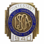 Lot 26 - 1940 US Open at Canterbury GC Contestant Badge #106