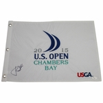 Lot 28 - Jordan Spieth Signed 2015 US Open at Chambers Bay Embroidered Flag JSA #Y53837