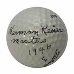 Lot 28 - Herman Keiser Signed Golf Ball with Masters Win Notation PSA Full Letter #X02388