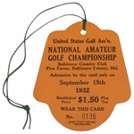Lot 3 - 1932 US Amateur at Baltimore CC Ticket #0136 - Finest Condition Known