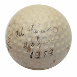 Lot 3 - Champ Ed Furgol Signed/ Used Golf Ball 1954 U S Open With '1954' and 'US Open'-Ralph Hutchison Collection