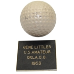 Lot 3 - Gene Littler 1953 US Amateur at Oklahoma City GC Championship Used Golf Ball Gifted To Ralph Hutchison