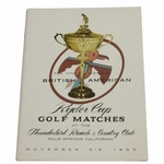 Lot 30 - 1955 Ryder Cup at Thunderbird Ranch & CC Program-Excellent to Near Mint Condition