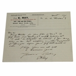 Lot 32 - Edward Ray Signed Handwritten Note On Personal Letterhead from 1925-MUST SEE!