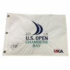 Lot 33  - Jordan Spieth Signed 2015 US Open Embroidered White Flag - Chambers Bay
