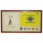 Lot 33  - Hale Irwin Multi-Signed 3x US Open Champion Commemorative Display - Flag, Art, and Badges JSA COA